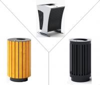 Plieninės, medinės šiukšlių dėžės