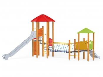 Vaikų žaidimų aikštelės Pilies bokštas 09 - sertifikuotos EN 1176 ir saugios, su dviem skirtingų aukščių čiuožyklom ir tilteliu