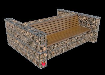 Akmeninis suoliukas su atlošu dvigubas- gabionas