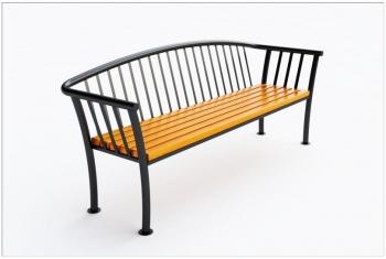 Lauko suoliukas su atlošu JMT0136 - 87x61x202 - įbetonuojamas arba prisukamas, su vertikaliais atramos stulpeliais iš metalo
