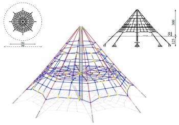 Virvinė laipiojimo piramidė. Apvali