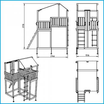 Vaikų žaidimų aikštelės. Duplex bokštas su supynėmis