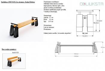 Lauko suoliukas be atlošo JMT0132 - 57x43x210 - iš medienos ir metalo, su atrama rankoms - kojelės prisukamos arba laisvai statomos - pilnas aprašymas