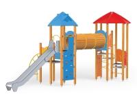 Vaikų žaidimų aikštelės Pilies bokštas 11 - sertifikuotos EN 1176 ir saugios, su uždaru tuneliu ir aukštumine siena laipiojimui