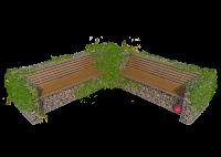 Akmeninis suoliukas su atlošu dvigubas L- gabionas