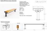 Lauko suoliukas JMT0131A - 49x47x196 - su medienos lentelėmis ir metaline apatine dalimi - kojelės prisukamos arba įbetonuojamos - pilnas aprašymas